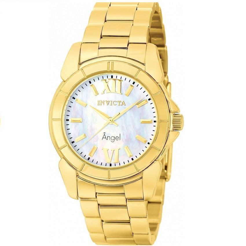Invicta 0460 Women's Angel Quartz 3 Hand White Dial Gold Watch