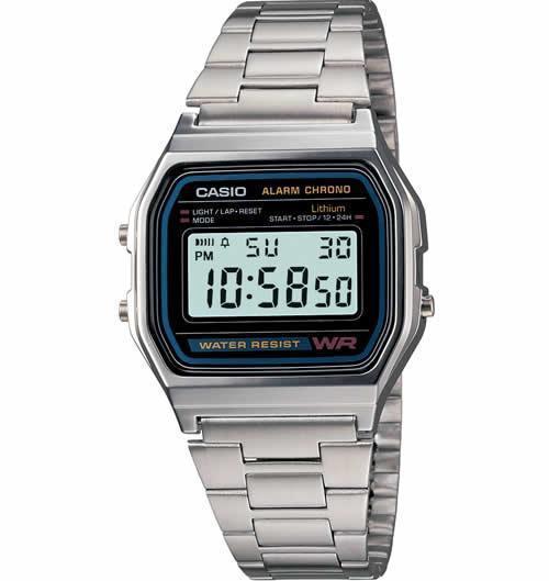Casio A158W-1 Men's Classic Digital Stainless Steel Bracelet Watch