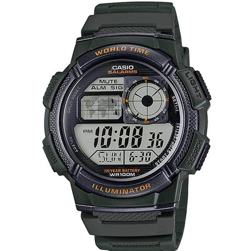 Casio AE1000W-3AV Men's Sport Dark Green Resin Band Medium Watch