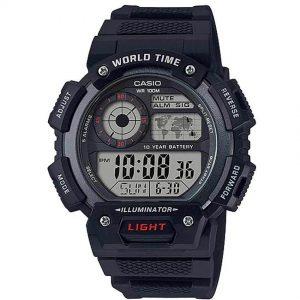 CASIO AE1400WH-1AV Digital World Time Black Resin Watch