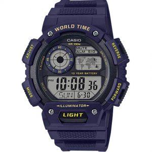 Casio AE1400WH-2AV Digital World Time Blue Resin Watch