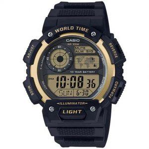 Casio AE1400WH-9AV Men's Gold Accent Black Resin Quartz Sport Watch