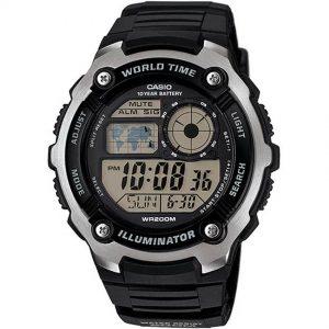 Casio AE2100W-1AV Men's Illuminator World Time Digital Black Resin Watch