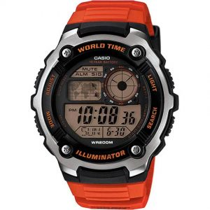 Casio AE2100W-4AV Men's Illuminator World Time Digital Orange Resin Watch