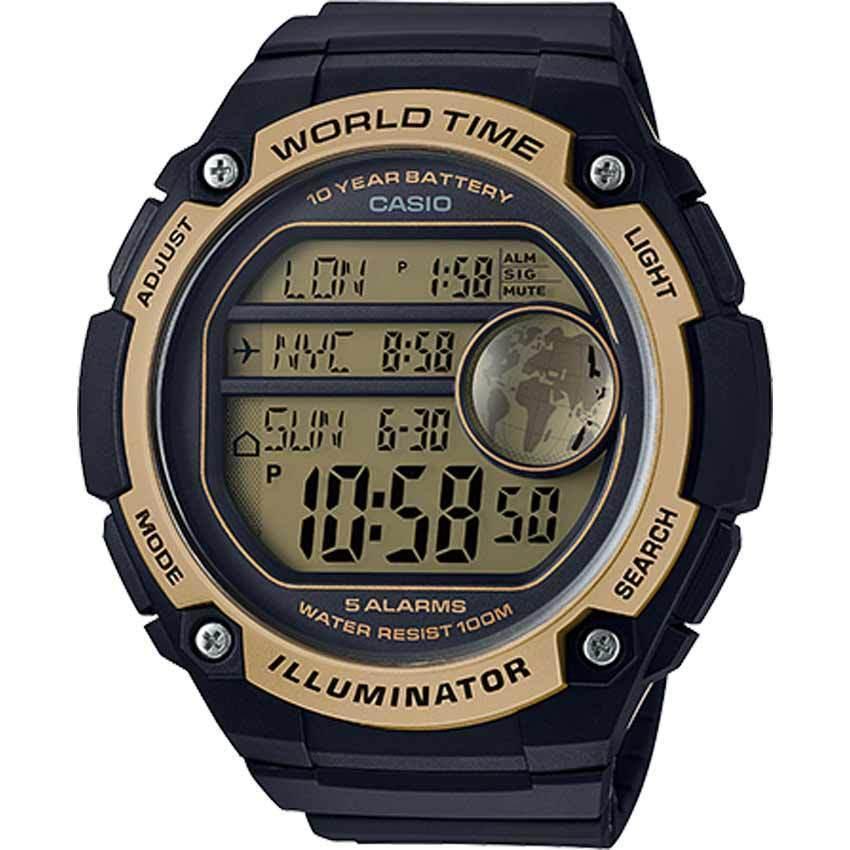 Casio AE3000W-9AV Men's World Time Digital Black/Gold XL Watch