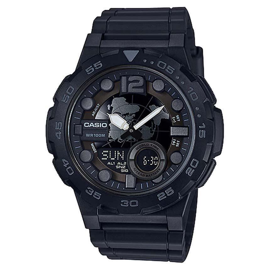 CASIO AEQ100W-1BV Men's Analog Digital Metallic 3D Dial Black Resin Watch