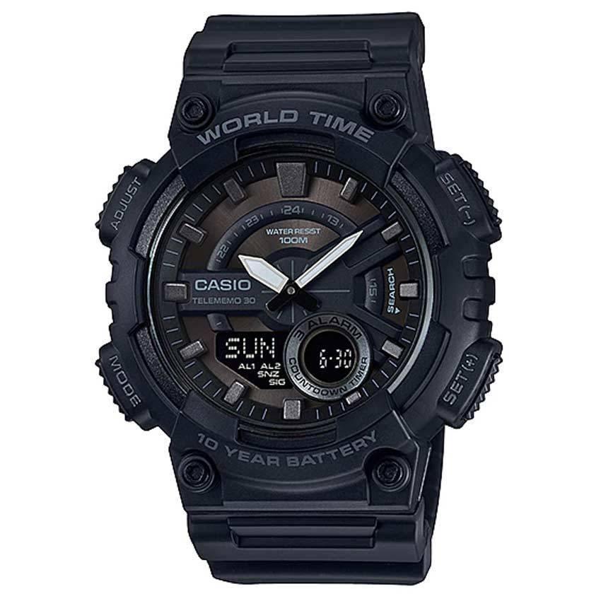 CASIO AEQ110W-1BV Men's Analog Digital Combination World Time Resin Watch