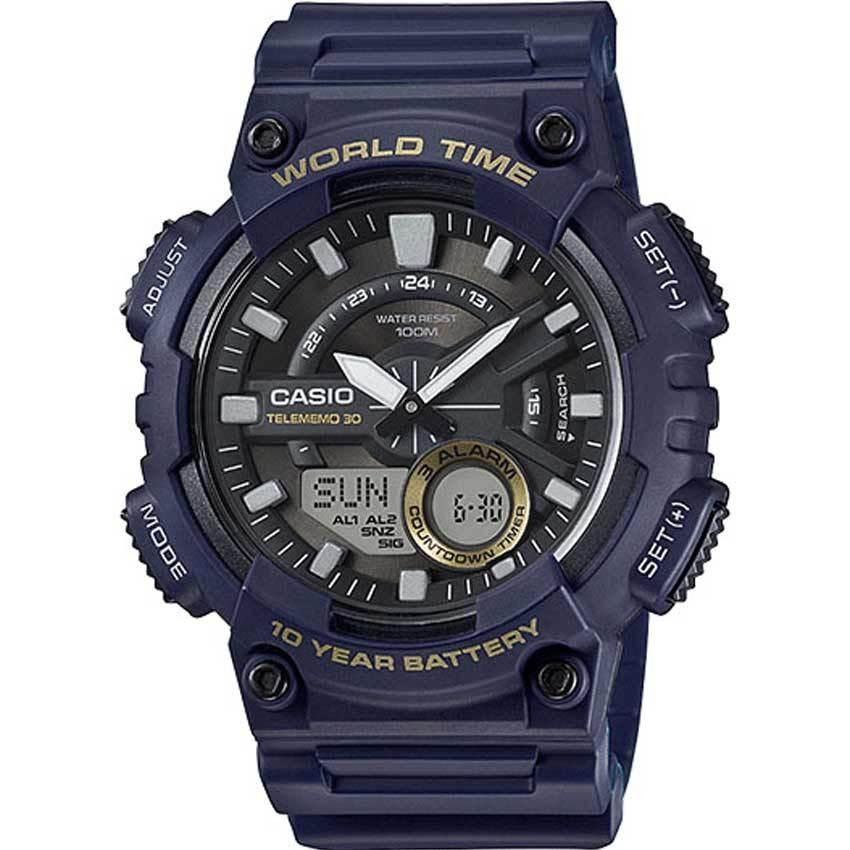 Casio AEQ110W-2AV Men's Analog Digital Quartz Blue Resin Watch