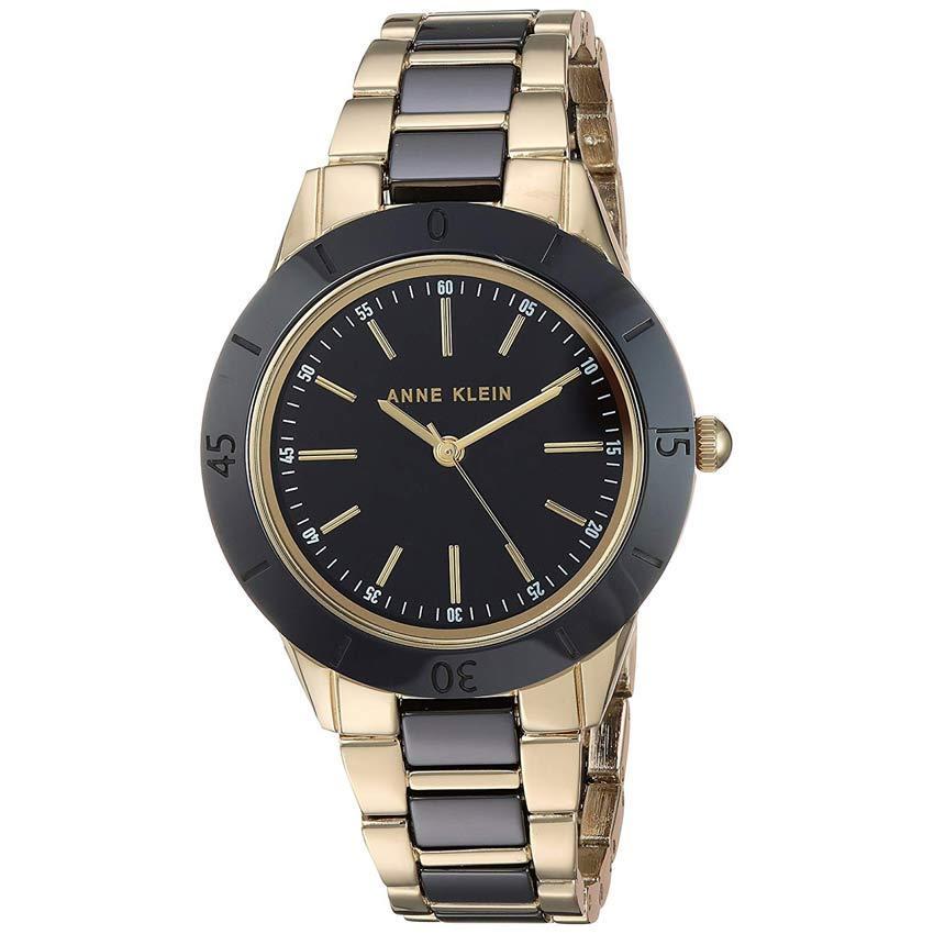 Anne Klein AK/3160BKGB Women's Gold-Tone & Black Ceramic Bracelet Watch