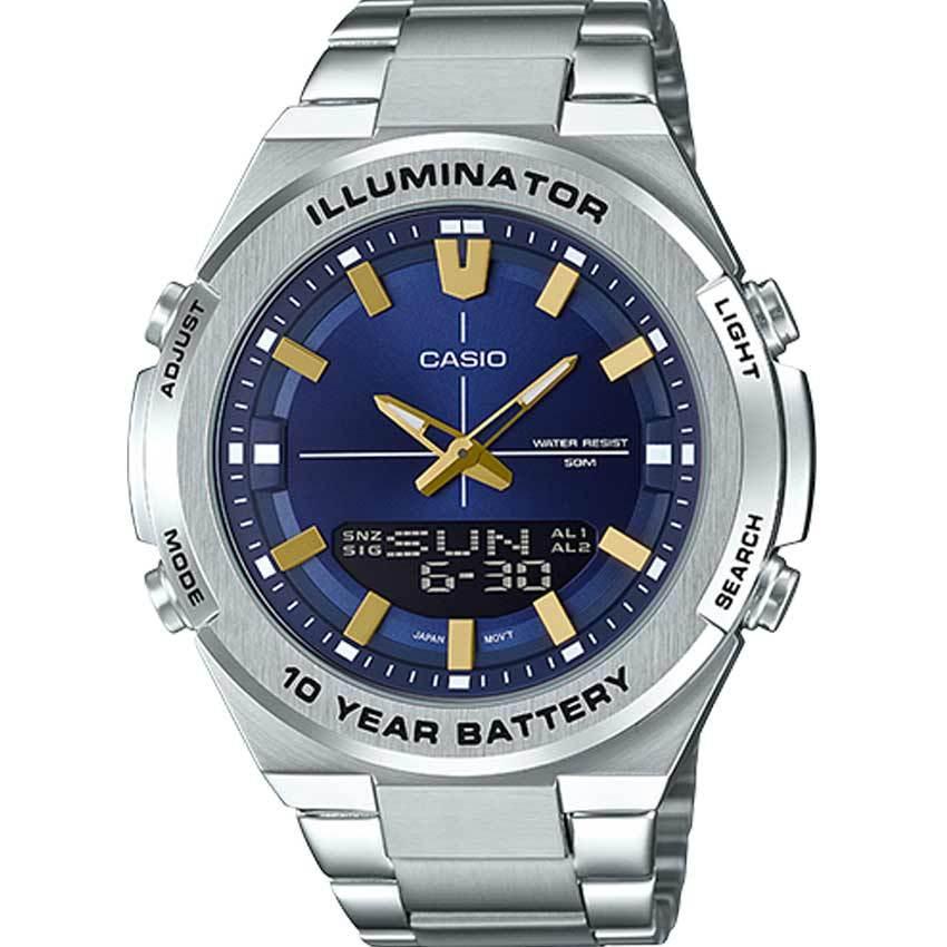Casio AMW860D-2AV Men's Analog Digital Stainless Steel Blue Dial Watch