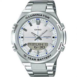 Casio AMW860D-7AV Men's Analog Digital Stainless Steel Silver Dial Watch