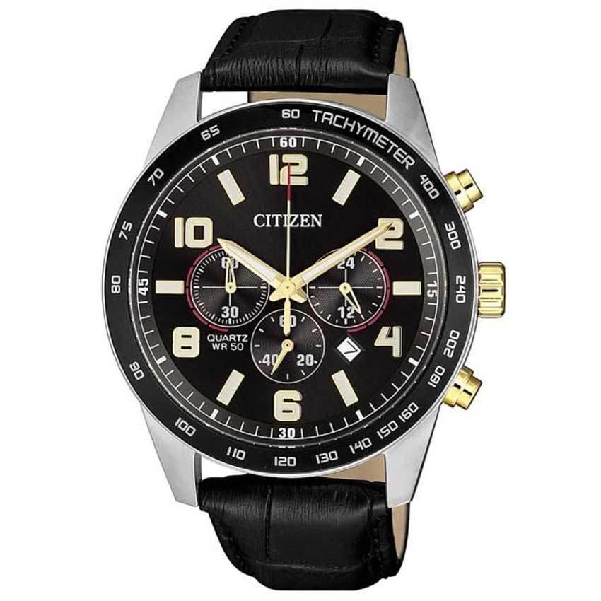 Citizen AN8166-05E Men'sChronograph Black Dial Quartz Leather Watch