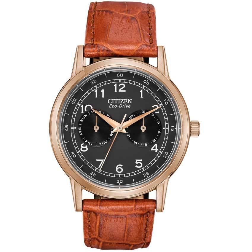 Citizen AO9003-08E Men's Eco Drive Black Dial Brown Leather Watch