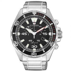 Citizen AT2430-80E Men's Eco-Drive Chronograph Black Dial Watch
