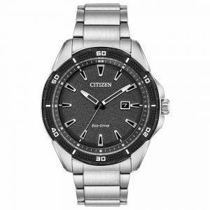 Citizen AW1588-57E Men's AR Eco-Drive Silver Steel Black Dial Watch