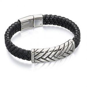 Fred Bennett B4722 Men's Platted Design Stainless Steel & Black Leather Bracelet