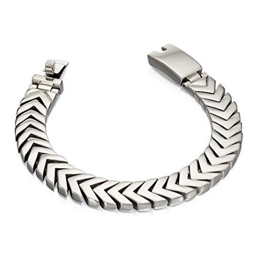 Fred Bennett B4970 Men's Bracelet Stainless Steel Chevron Heavy Link Bracelet