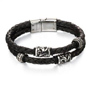 Fred Bennett B4980 Oxidized Stainless Steel & Black Leather Tribal Bead Bracelet
