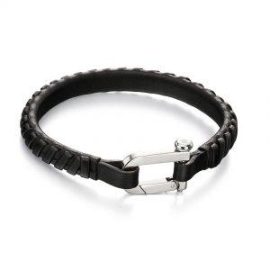 Fred Bennett B5000 Men's Black Plaited Leather Bracelet