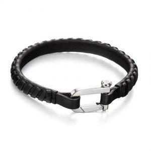 Fred Bennett B5002 Men's Stainless Steel Black Leather Weaved 21cm Bracelet
