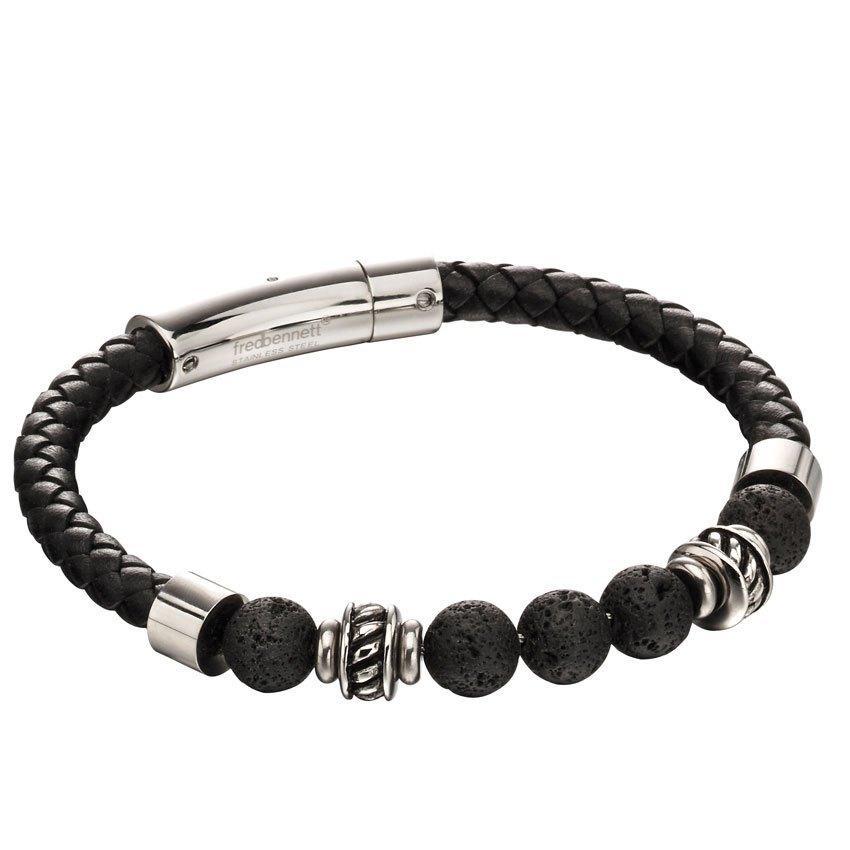 Fred Bennett B5097 Men's Black Lava Bead Leather Bracelet
