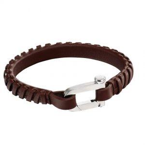 Fred Bennett B5128 Men's Surgical steel, Brown Skin Bracelet