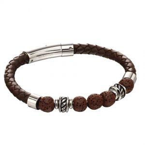 Fred Bennett B5141 Men's Stainless Steel Brown Lava Bead Plaited Brown Leather Bracelet