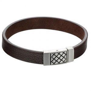 Fred Bennett B5163 Men's Criss Cross Clasp Brown Leather Bracelet