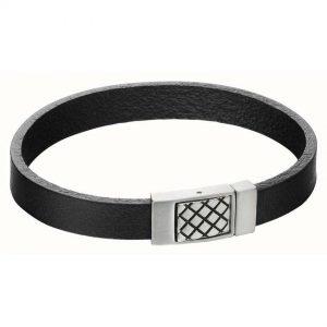 Fred Bennett B5164 Men's Criss Cross Clasp Black Leather Bracelet
