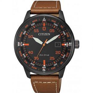 Citizen BM7395-11E Men's Eco-Drive Black IP Case Leather Watch