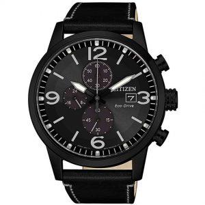 Citizen CA0617-29E Men's Eco-Drive Chronograph Black Leather Watch