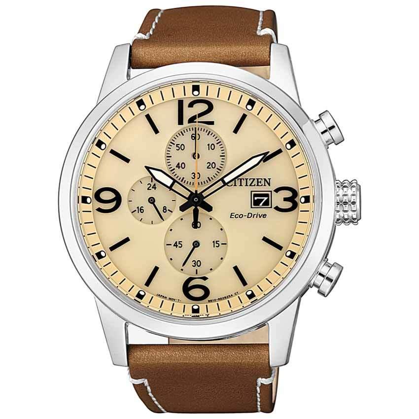 Citizen CA0618-18X Men's Eco-Drive Chronograph Leather Watch
