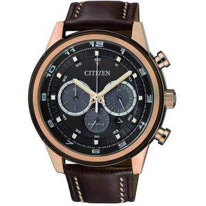 Citizen CA4037-01W Men's Eco-Drive Chronograph Leather Watch