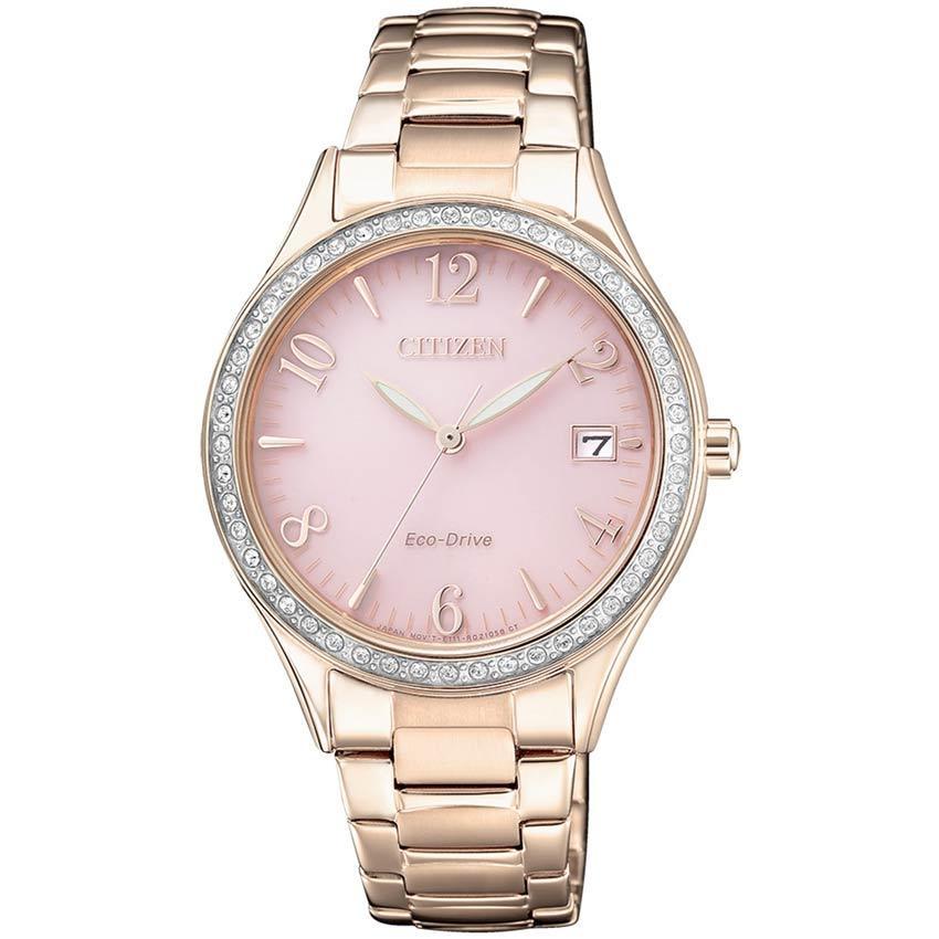 Citizen EO1183-84X Women's Eco-Drive Swarovski Crystal Pink Dial Watch