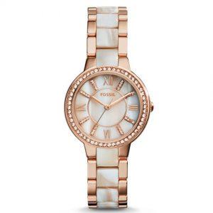 Fossil ES3716 Women's Virginia Rose-Tone & Horn Acetate Medium Watch