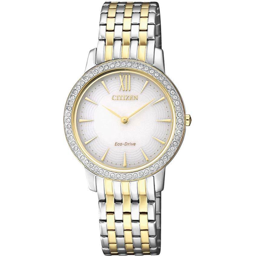 Citizen EX1484-81A Eco-Drive Swarovski Crystal Two Tone Bracelet Watch