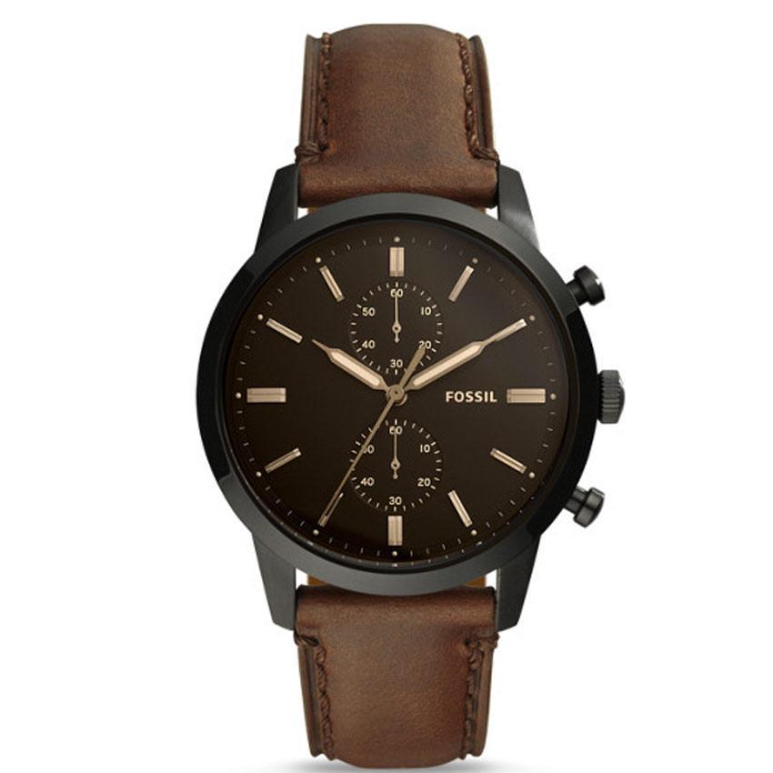 Fossil FS5437 Men's Townsman Chronograph Black Case Brown Leather Watch