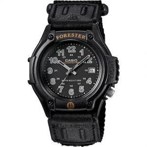 Casio FT500WC-1B Men's Forester Analog Illuminator Black Cloth Band Small  Size Watch