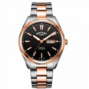 Rotary GB05382/04 Men's Henley Two-Tone Rose Gold Serrated Bezel Auto Watch