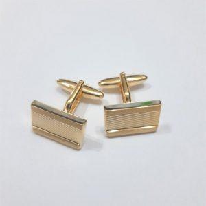 Harvey Makin HM1878 Nickel Plated Shiny Brushed Gold Pair Cufflinks