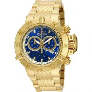 Invicta 14501 Men's Subaqua Quartz Yellow Gold Blue Dial Large Watch