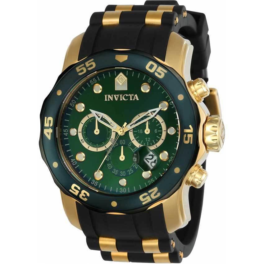 Invicta 17886 Men's Pro Diver Quartz Multifunction Green Dial Polyurethane Large Size Watch