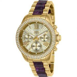 Invicta 20508 Women's Angel Quartz 3 Hand Gold Dial Two-Tone Watch