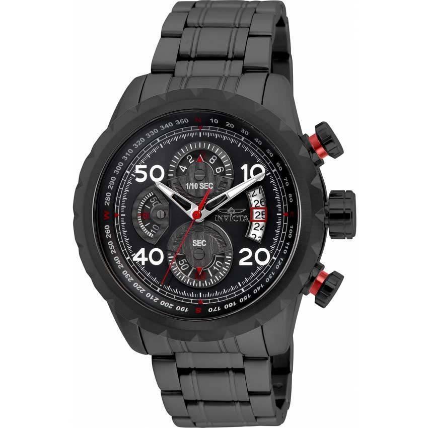 Invicta 28155 Men's Aviator Quartz Multifunction Black Dial Watch