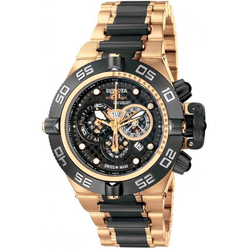 Invicta 6552 Men's Subaqua Quartz Chronograph Black, Rose Gold Dial Large Watch