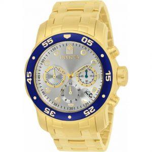 Invicta 80067 Men's Pro Diver Quartz Chronograph Silver Dial Large Size Watch