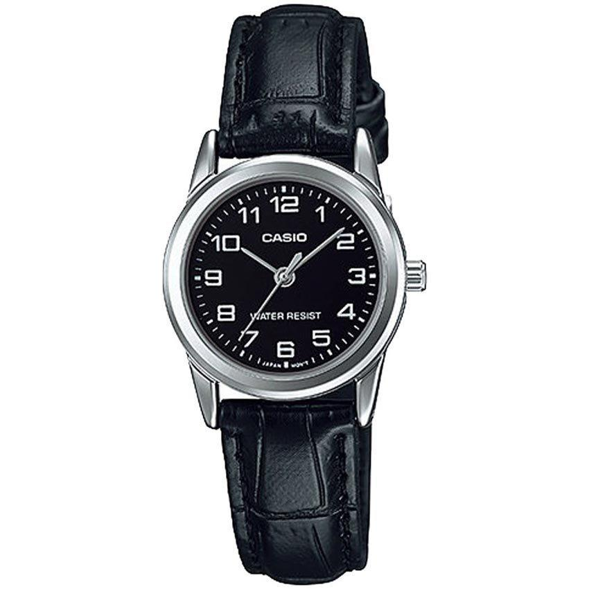 CASIO LADIES LTP-V001L-1BUDF METAL BASIC BLACK DIAL LEATHER Small Size WATCH
