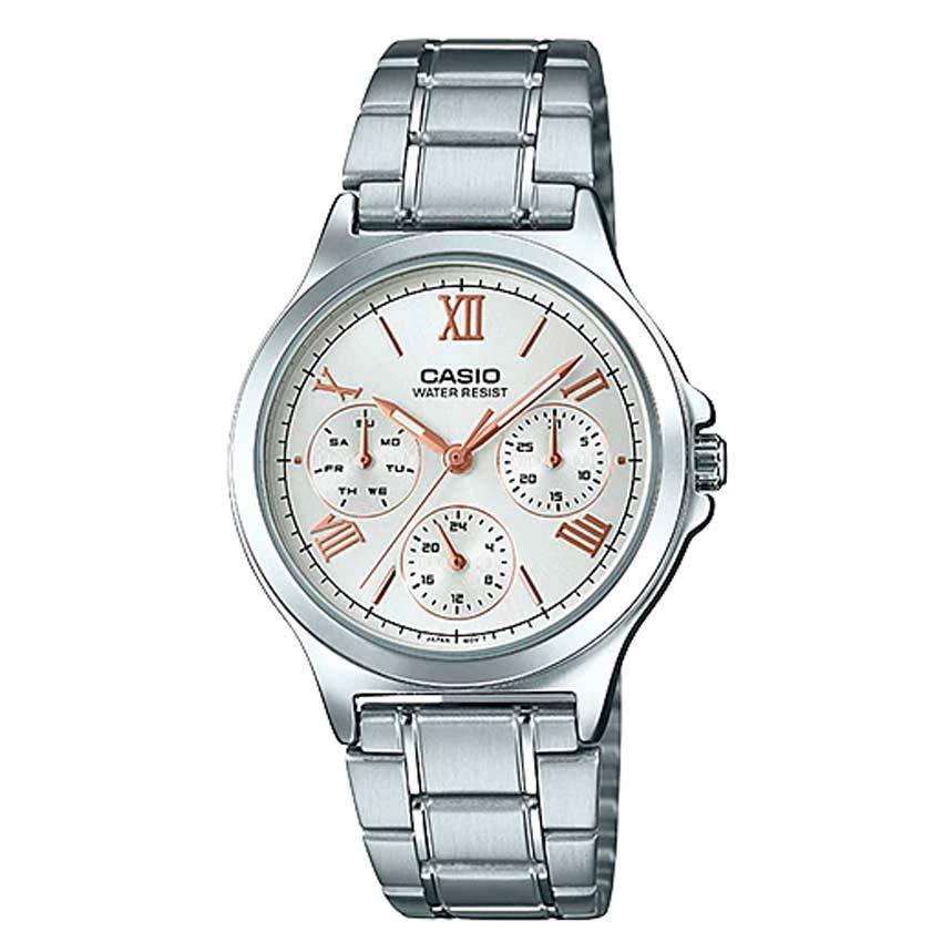 Casio Ladies LTP-V300D-7A2UDF Multi-Function Silver Dial Medium Watch