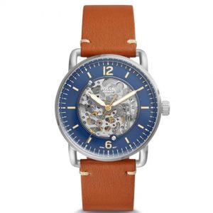 Fossil ME3159 Men's Commuter Automatic Blue Dial Tan Leather Watch