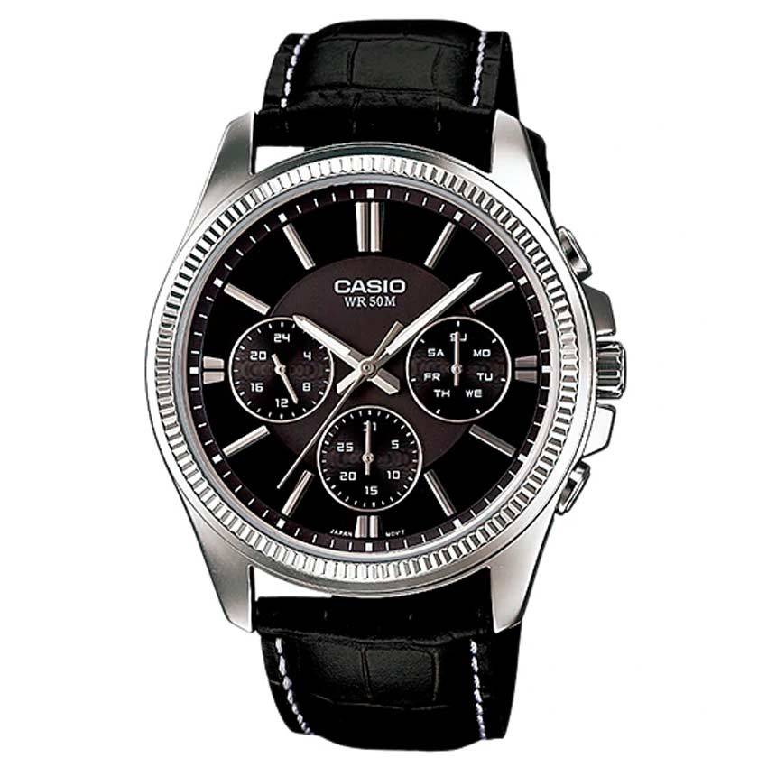 Casio Gent's MTP-1375L-1AVDF Multifunction Black Dial, Leather Medium Watch